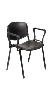 Cadeira Tok 300, assento e costa em PP, estrutura pintada a preto ou cinza 7035 Estrutura cromada: (+€)