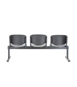 Bancada Tok 300 2 lugares, assento e costa em PP, estrutura pintada a preto. Opção: Mesa de apoio (+€)