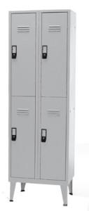 Armário Vestiario Cacifos - Vestiário Duplo 4 Cacifos 1900x600x500mm Metálico Cinza