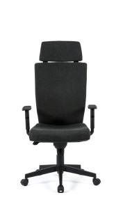 Cadeira Zeus, costa ALTA, com apoio de cabeça, mecanismo sincronizado com possibilidade de bloqueio em cinco posições e regulação da costa em altura, base piramidal em nylon BZU.500