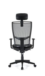 Cadeira Zoen, costa alta em rede, com apoio de cabeça e assento com estofo, mecanismo sincronizado com possibilidade de bloqueio em cinco posições e regulação da costa em altura BZO.500